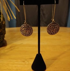 Antiqued Gold Plate and Marcasite Dangle Earrings